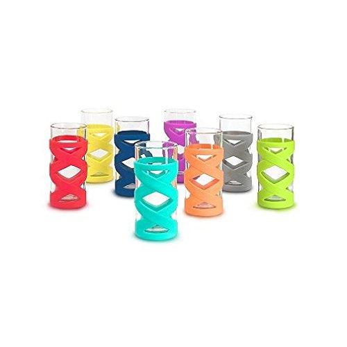 8 pc Ello Silicone Sleeve Glassware 17 oz each Assorted