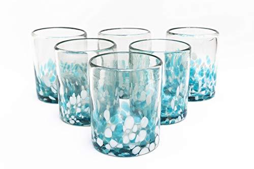 Mexican Blown Glass Drinking Glasses Confetti Colorful Glassware Unique Recycled Glass Multi Color Acqua and White Hand Blown 10 Oz