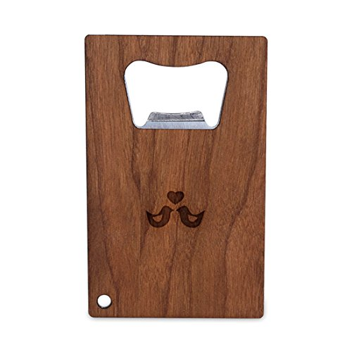 WOODEN ACCESSORIES COMPANY Credit Card Sized Bottle Opener With Laser Engraved Love Birds Design- Stainless Steel Bottle Opener With Wooden Front Panel - Slim And Wallet Size