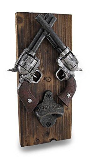 Western Crossed Revolvers Wall Mounted Bottle Opener