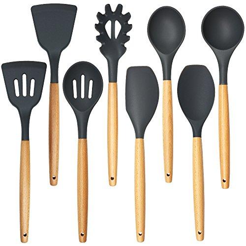 Shxmlf Premium Silicone Cooking Utensils Set -8 Piece Silicone Head Wood Handle Kitchen Baking Tools Eco-friendly BPA free Non-stick 8