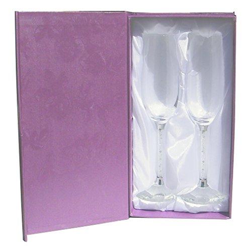 Amlong Crystal Wedding Champagne Flutes, Set Of 2 Glasses