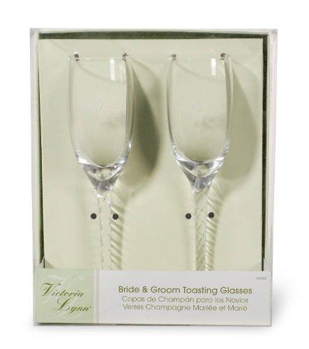 Darice V35922, Bride Groom Twisted Champagne Glasses