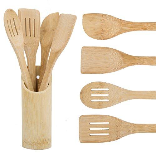 HBlife 5 Pcs Bamboo wok Cooking Utensils Set Holder Kitchen Tool with Storage Organizer