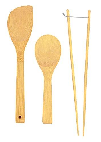 Helen's Asian Kitchen Bamboo Kitchen Tools Cooking Utensils and Stir Fry Set 3-Piece Set