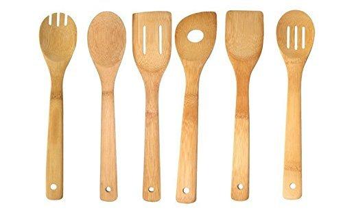 Premium 6 Piece Bamboo Kitchen Tool Set - Eco-friendly Bamboo Cooking Utensils - Bamboo Spatula - Bamboo Cooking Spoon - Bamboo Cooking Fork - Bamboo Slotted Spoon - Bamboo Slotted Spatula - Bamboo Single Hole Spoon - Natural Cooking Utensil - Kitchen Too