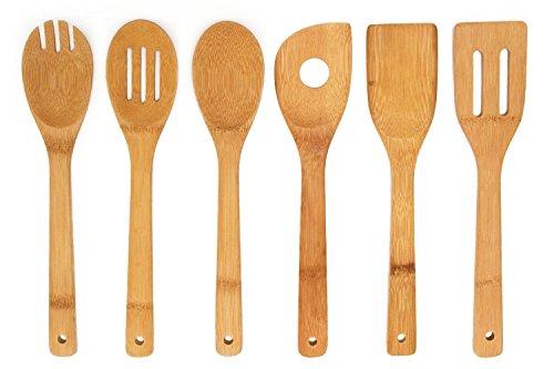 Premium Kitchen Cooking Utensils Bamboo Spoon Spatula 6 Set of Bamboo Kitchen Tools