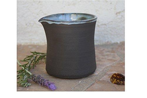 Black Clay Pitcher handmade ceramic oil cruet rustic modern pottery jug