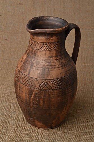 Clay Large Jug 35 L Milk Firing Technique Handmade Ceramic Pottery Pitcher