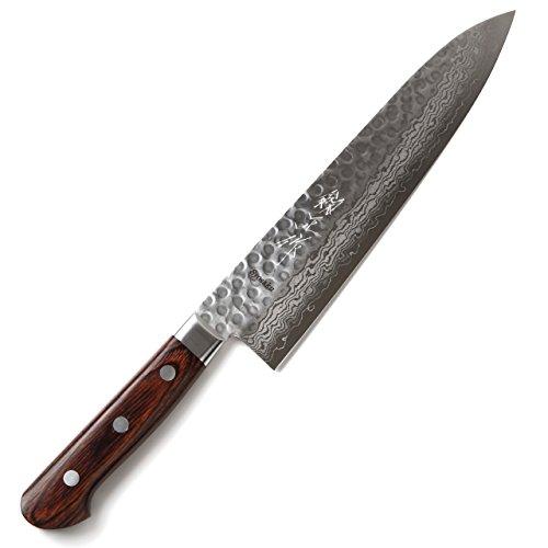 Syosaku Japanese Chefs Knife Hammered Damascus VG-10 16 Layer Mahogany Handle Gyuto 95-inch 240mm