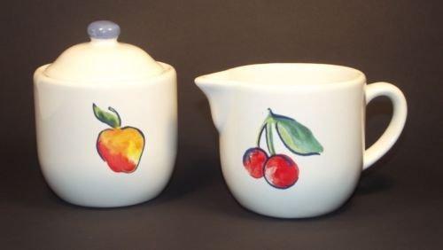 Corelle Fruit BASKET Sugar Bowl Cream Pitcher Set