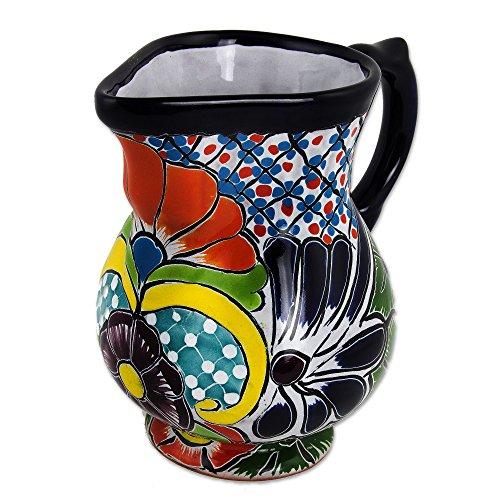 NOVICA Hand Blown Multicolor Ceramic Cream Pitcher Guanajuato Imperial