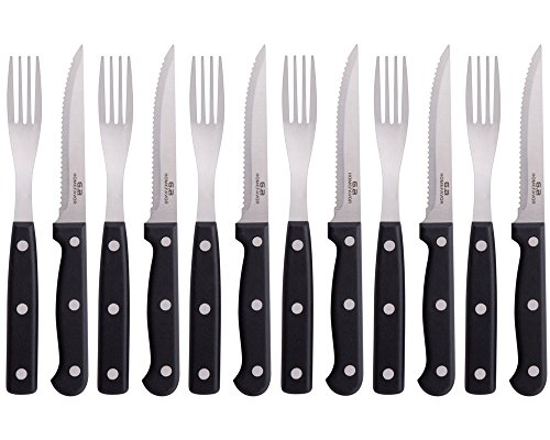 GA Homefavor Stainless Steel Steak Knife and Fork Set Sharp Serrated Knives Cutlery With Black Handle 12pieces