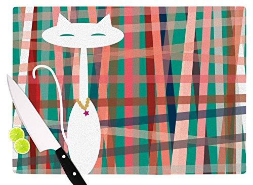 KESS InHouse BB2002ACB01 Bridgette Burton Here Kitty  Coral Vintage Cutting Board 115 x 825 Multicolor