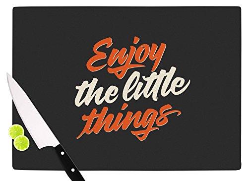 KESS InHouse PO1043ACB01 Juan Paolo Enjoy The Little Things Orange Vintage Cutting Board 115 x 825 Multicolor