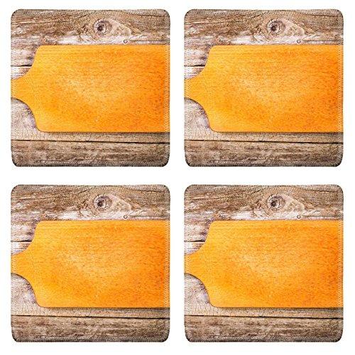 Liili Square Coasters Empty vintage cutting board on planks food background 28321228