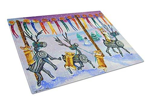 Carolines Treasures 7443LCB Corgi Log Reindeer Race Christmas Glass Cutting Board Large Multicolor