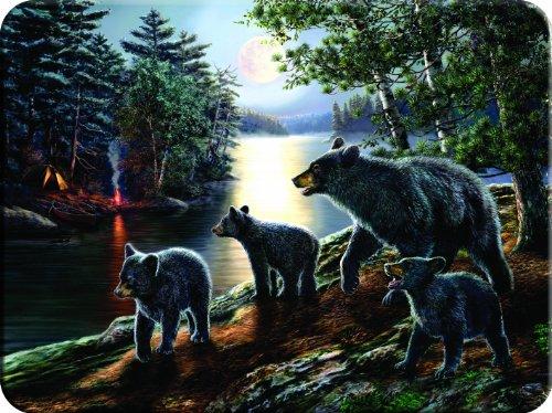 Rivers Edge Beautiful Tempered Glass Cutting Board with Mama Black Bear and Cubs Design Black Bear 16-Inchx12-Inchx5-Inch