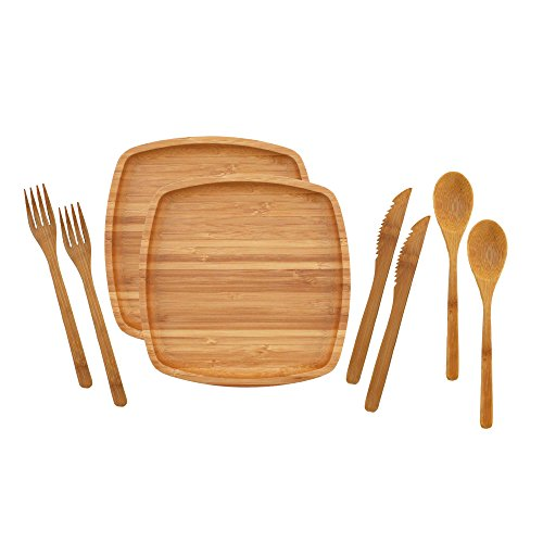 BambooMN Camping Mess Kit Lightweight Organic 8 x 8 Bamboo Plates Forks Knifes and Spoons for Camping Hiking or Backpacking - 2 Sets