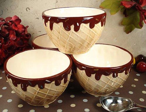 DLusso Designs Home Decorative Four Piece Waffle Cone Design Ceramic Ice Cream Bowls Set