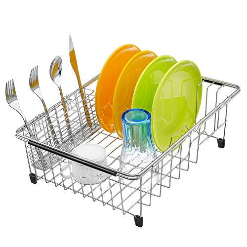 MONOKIT Expandable Sink Dish Drying Rack Kitchen Dish Drainer Rack Large Plate Holder Organizer Basket with Utensil Storage Rustproof Stainless Steelsteel