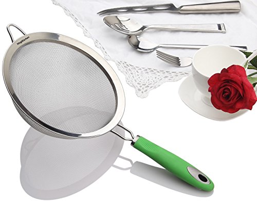 MagiKüchen 8-Inch Colander Fine Mesh Stainless Steel Sieve Strainer with Heat-Resistant Handle Refreshing Green