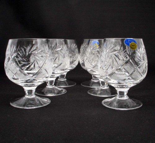 6 Russian Cut Crystal Cognac Snifters 200ml/7oz Hand Made