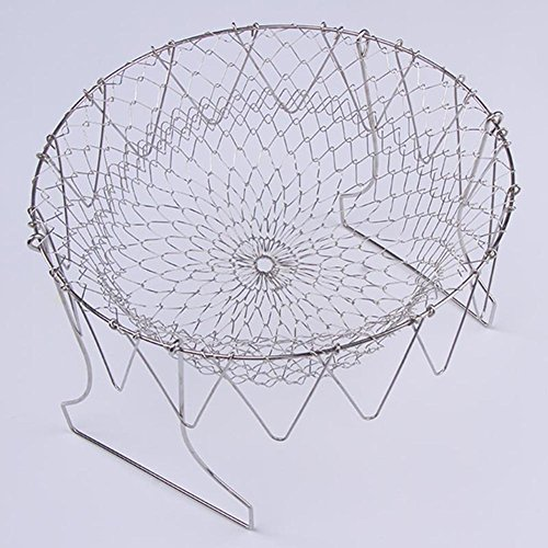 ZYXY Deep Fry French Chef Basket Foldable Steam Rinse Stainless Steel Strainer Net Basket for Kitchen Cooking