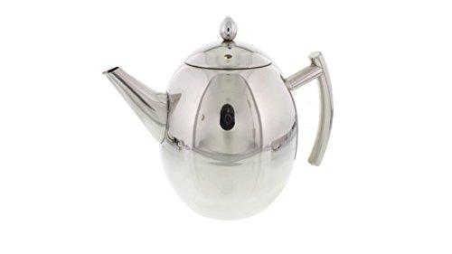 Cheftor 51-oz15-Liter Polished Stainless Steel Teapot Kettle pot with Tea Infuser Filter for Home Kitchen Restaurant or Office Egg shape