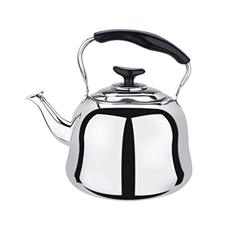 Stainless Steel Whistling Teakettle Teapot Cookware Silver Tone 4L by CrystalRao