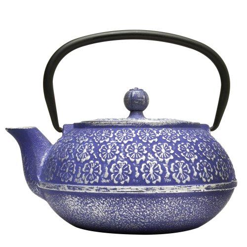 Blue Floral Cast Iron Teapot 34-Ounce Blue Floral