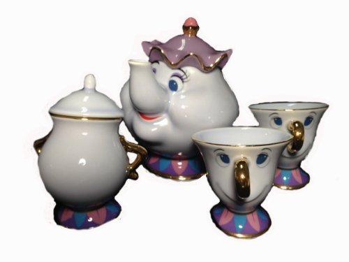 Disney Resort limited release  Beauty and the Beast  Mrs Potts and Chip teapot set TM Mrs Potts of pot u0026 chip of tea cup u0026 sugar pot
