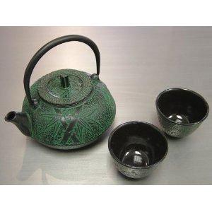 Happy Sales HSCT-BMG04 Cast Iron Tea Pot Tea Set Bamboo Green