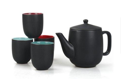 JustNile Ceramic Tea Set - Stylish Black Tea Pot w 4 Tea Cups
