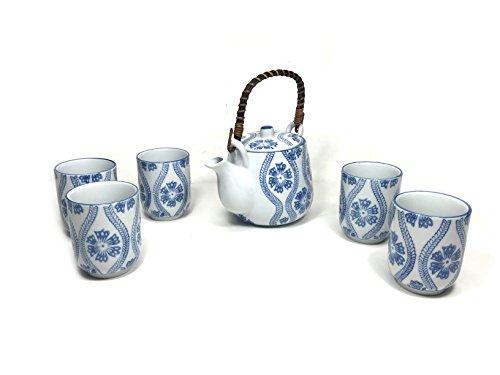 Oriental Style Asian Teapot Ceramic Tea Pot Set Blue White 1 Teapot 5 Cups