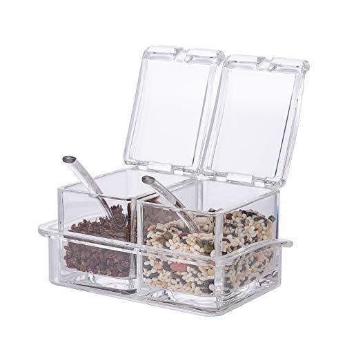 Xena 2 Piece Clear Spice Rack Spice Pot Acrylic Seasoning Box Storage Container Condiment Jar 55 x 4 Inch Cruet Cover Spoon Salt Pepper Organizer Sauces Dressing Holder