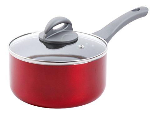 Oster Herscher 25 Qt Non-Stick Aluminum Sauce Pan with Lid Translucent  Red