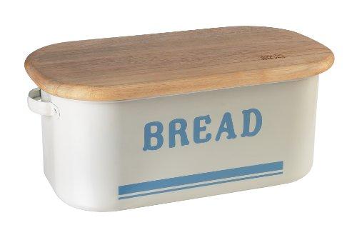 JAMIE OLIVER Vintage Inspired Kitchen Bread Bin Storage Box - Tin with Wooden Lid