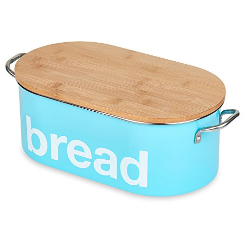 Vintage Turquoise Oval Bread Bin with Fitted Bamboo Lid