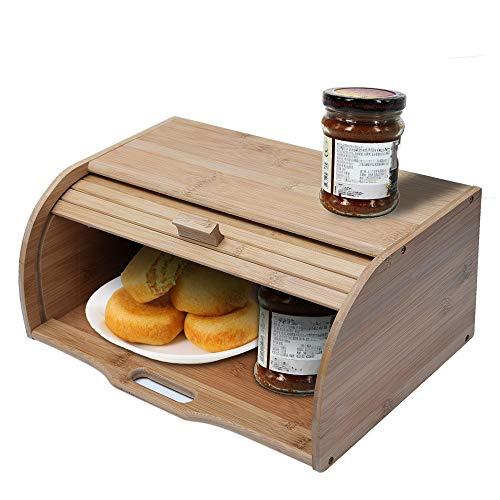 Kitchen Bread Storage Box Natural Wooden Roll Top Bread Box Kitchen Food Storage Bamboo 1574X1026X629IN