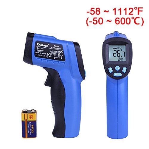 Thsinde Temperature Gun Non-contact Digital Infrared Thermometer-58 ~ 1112℉-50 ~ 600℃ Temperature Gun MAX Display EMS Adjustable IR ThermometervBlue