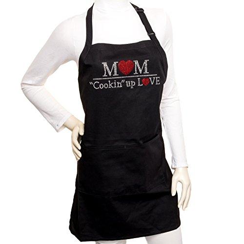 Bling Rhinestone Mom Cookin Up Love Novelty Apron Black