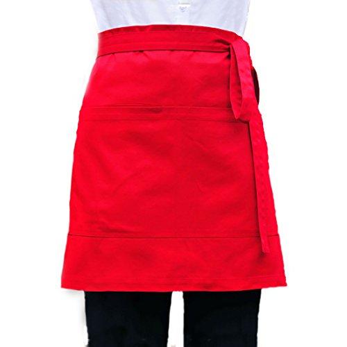 LISSOMPLUME Unisex 2 Pockets Waist Apron Restaurant Bistro Works Half Aprons 70X45cm Red