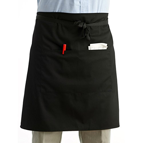 ROSENICE Waist Apron 2 Pockets Server Aprons Kitchen Cooking Short Apron Waiter Apron in Black