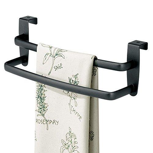 mDesign Over the Cabinet Kitchen Dish Towel Bar Rack - 9 Black Matte