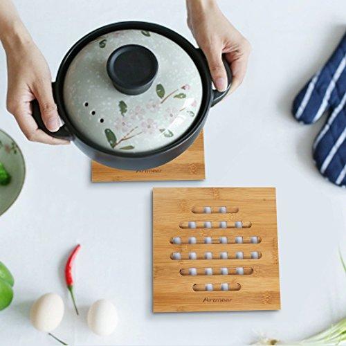 Bamboo Trivet Set of 2 Piece Heat Resistant Pot teapot trivet Protects Counters Tables bamboo