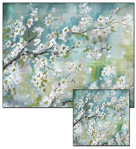 CounterArt Cherry Blossom Glass Cutting Board and Trivet Set