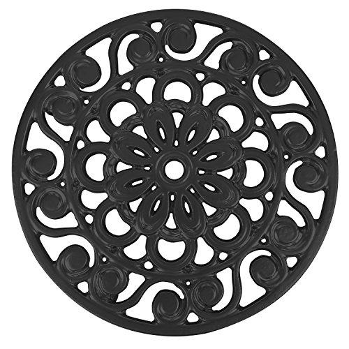 Trademark Innovations Decorative Cast Iron Metal Trivet Black