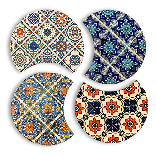 Absorbent Ceramic TrivetCoaster Set with Cork Base Set of 4 Modern Moroccan Boho Table or Bar Coasters Also Used as Kitchen Pot Holders Hot Pad or Trivets for Hot Dishes Pots and Pans 425in