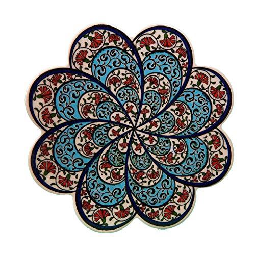 Barbaros Turkish Hand Art Ceramic Trivet By EuroHand - 725 Inch Diameter - Anatolian Decorative Organic Paint Iznik Trivet with Foam Backing